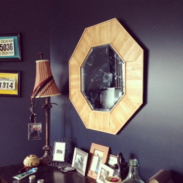 DIY Wood Shim Sun ish Burst Style Mirror Makeover